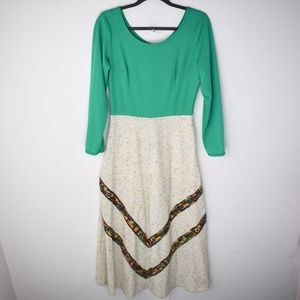 Vintage 1970s Long Sleeve Maxi Dress